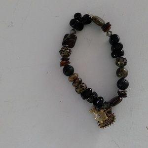 snakeskin jasperBlack onyx/swarovski gem bracelet
